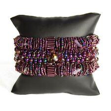 BR180210 Magnetic Clasp Bugle Beads Czech Purple Crystal Bracelet Cuff Guatemala