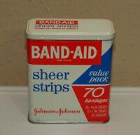 Vintage Johnson & Johnson BAND-AID Sheer Strips Metal Advertising Tin