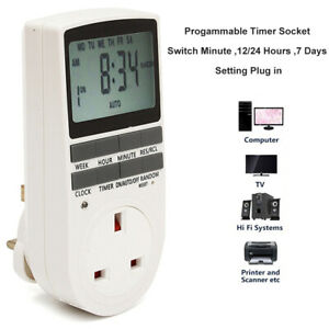 Digital LCD Display UK Plug - In Programmable Timer Switch Socket 24hr 7Day.