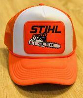 Stihl Patch Trucker Hat Orange And White Cap Adjustable Chainsaw Man Cave