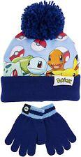 Pokemon Hat and Gloves Set For Kids With Pokeballs,Super Soft Warm Bobble Hat 3+