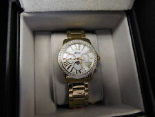 Ladies Belair Watch,White Topaz & Mother-of-Pearl Dial, 5 ATM, Yellow Metal Band