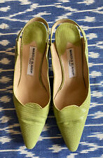 * Manolo Blahnik / Light Green / Pointed / Low Heel / Strappy / Size 39 1/2 *