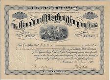 CANADA, The Canadian Oil & Coal Co. Limited, Stock Certificate 1899 Nova Scotia