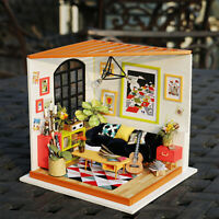Rolife DIY Living Room Miniature Dollhouse with Furniture Model Kits Modern Gift