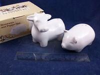 NIB Cracker Barrel White Milk Glass Country Cow Pig Salt & Pepper Shakers CB06A