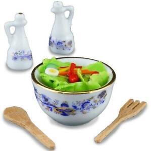 DOLLHOUSE Fresh Tossed Salad Set 1.848/5 Reutter Porcelain Blue Onion Miniature