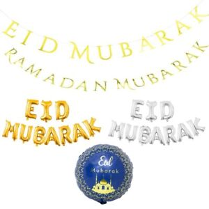 Eid Mubarak Ramadan Banner Garland Balloons Party Decorations Supplies Kareem