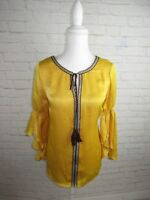 NY Collection women's Tunic Mustard Yellow Embroidered Ruffle Butterfly Sleeve M