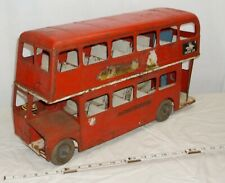 TRI-ANG LONDON TRANSPORT DOUBLE DECKER BUS GIANT PRESSED STEEL TOY ENGLAND