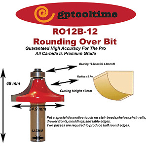 Rounding Over Bit  TCT   12.7 mm Radius 12.7 mm Shank  (Pack Of 3)