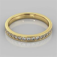 0.60 Cts Round Brilliant Cut Diamonds Band Ring In Fine Hallmark 14K Yellow Gold