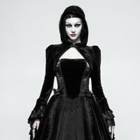 Punk Rave Womens Hooded Bolero Black Velvet Gothic Steampunk Crop Hoodie Y-820