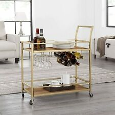 2-Tier Bar Serving Cart with Wine Rack and Glass Holder Metal Frame Gold