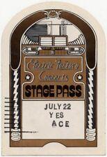 Yes Ace Spectrum Arena Philadelphia, PA peel off backstage pass 22/7/75