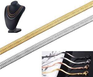 Schlangenkette Edelstahl 40 - 60 cm Kette flach Collier Damen Herren Halskette