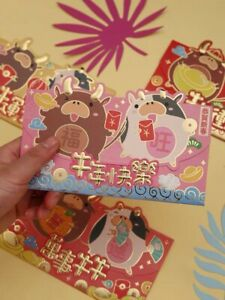 Assorted 12 Chinese New Year of the Ox 2021 Red Envelopes / Money Envelopes