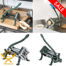 Countertop French Fry Cutter Potato Vegetable Slicer Green Cast Iron 8 Wedge New