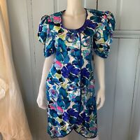 Vintage 80s Flora Kung Silk Floral Print Coat Dress Puff Sleeve DB Lined Size 8