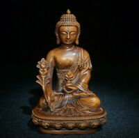 Collect Buddhism Natural Boxwood hand carved Medicine Buddha Statue Sakyamuni