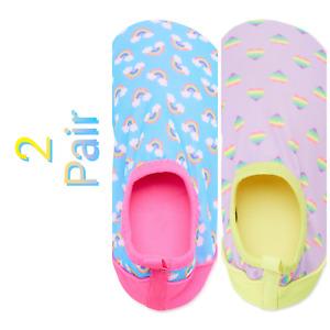 2 PAIR BUNDLE Wonder Nation Aqua Slipper Water Shoes Pink Blue Girls 9/10