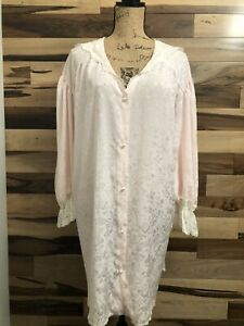 LADY CAMEO VINTAGE Nightgown Pink Button Front w/Lace Trim POLYESTER Size PLUS