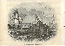 Stampa antica KRONSTADT porto Russia 1840 Antique print античный печать