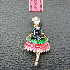 Girl Betsey Johnson Brooch Pin Fashion Multi-Color Enamel Crystal Charm