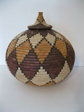Large Round Bulbous~Ball Basket with Lid~Geometric Pattern