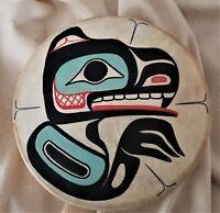 """West Coast Native Hand Painted Deer-skin 12"""" """"BEAVER""""    Drum"""
