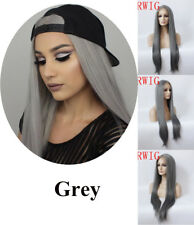 """24"""" Dark Grey Party GlueLess Lace Front Wig Straight Heat Safe Fiber Hair"""