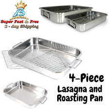 Lasagna And Roasting Pan Bakeware All In 1 Stainless Steel With Handles 4 Pieces