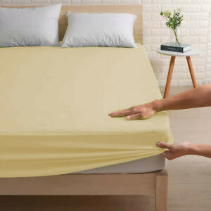Cotton Fitted Bed Sheets Elastic Mattress Cover Double