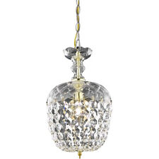 CRYSTAL CHANDELIER GOLD CLEAR PENDANT FOYER CEILING LIGHTING FIXTURE 1 LIGHT 13""