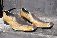 Impulse Steeple Gate Brown Leather Long Square Toe Slip-on Shoes Men's Sz 10.5