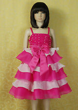 Vestido Niña de Fiesta Rosa Fucsia Disfraz Azul 3 4 5 6 7 Años