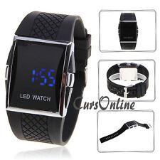 Orologio Digitale Led Blu Unisex Wrist Watch Nero Ampio Display per Anziani