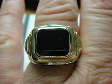 NEW BIG HEAVY ALL SOLID 14 K MEN'S  ONYX SOLID CLOSED BACK RING 24 GRAMS SZ 10.5