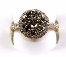Fancy Color Diamond Round Cluster Ring 14k Rose Gold 2.30Ct
