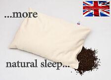 """ORGANIC BUCKWHEAT HUSK NATURAL SLEEP PILLOW X LARGER SIZE 20""""X 30"""", BRITISH MADE"""