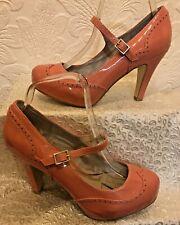 Fe desnuda patente Rosa Tacón Alto Mary Jane Zapatos Talla 6/39 Nuevo