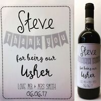 Personalised Wine Bottle Sticker/Label. Thank You Best man/usher Gift/present