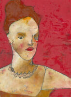 Ben Carrivick - Signed Contemporary Oil, Red Hair, Red Lips