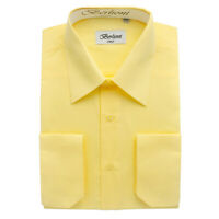 Berlioni Italy Men's Convertible Cuff Solid Italian French Dress Shirt Lemon