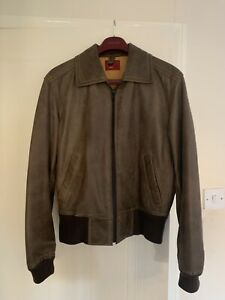 Rare Vintage Levi Type 1 Leather Bomber Jacket Brown Size Small 38 Inch Chest