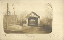 South Vernon Ma Covered Bridge w/ Posters c1905 Real Photo Postcard