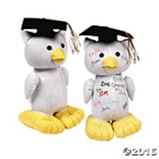 "11 1/2"" FABRIC AUTOGRAPH GRADUATION OWL WHITE SIGNATURE GRADUATION PARTY"