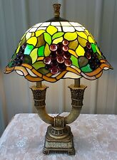 TIFFANY STYLE STAINED GLASS JEWELED GRAPE LAMP CRACKLE FINISH BASE