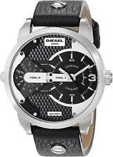 New Diesel DZ7307 Men Round Multi Dial Black Leather Band Watch