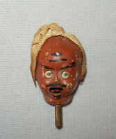 Old Antique Vtg 19th C 1860s Figural Zouave Head Pin Turban Sticks Out Tongue